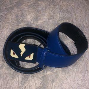 "Mens Fendi Belt with Monster Face"" buckle, in blue"